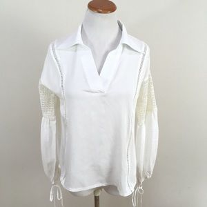 Sister Jane White Blouse Boho Hippie V-Neck Top
